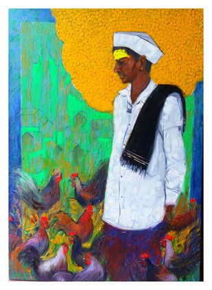 Shepherd..11 by Ganesh Jadhav , Expressionism Painting, Oil on Canvas, Green color