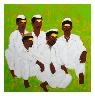Group chatting by Ganesh Jadhav , Expressionism Painting, Acrylic on Canvas, Green color