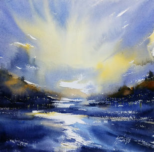 Sunset by Sunil Linus De, Impressionism Painting, Watercolor on Paper, Blue color