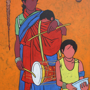 mother by K V Shankar, Expressionism Painting, Acrylic on Canvas, Brown color