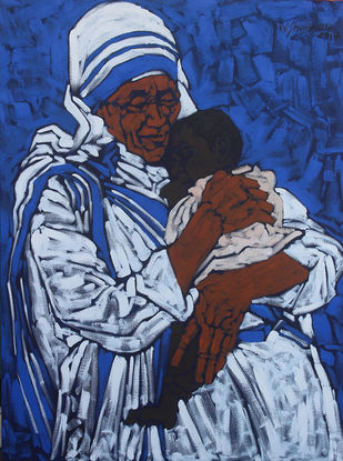 mother 1 by K V Shankar, Expressionism Painting, Acrylic on Canvas, Blue color