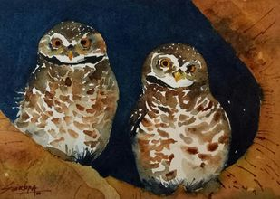 Die Zwei Eulen/The Two Owls by Shirupa Gupta, Impressionism Painting, Watercolor on Paper, Brown color