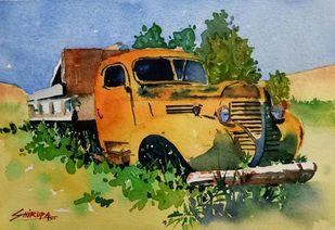 Rusted Truck by Shirupa Gupta, Impressionism Painting, Watercolor on Paper, Beige color