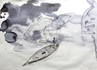 Fisherman3 by Sreenivasa Ram Makineedi, Illustration Painting, Watercolor on Paper, Gray color