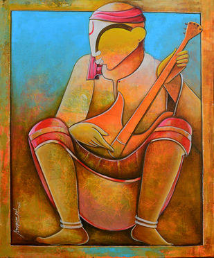 solo rhythms by anupam pal, Decorative Painting, Acrylic on Canvas, Brown color