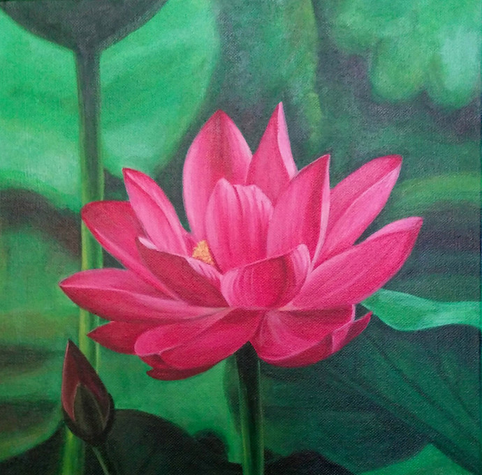 Pink Lotus By Artist Gauri Ranade Dixit Impressionism Painting