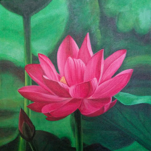 Pink Lotus by Gauri Ranade Dixit, Impressionism Painting, Acrylic on Canvas, Green color