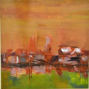 A Touch of Earth series No13b by Murali Sivaramakrishnan, Abstract Painting, Oil & Acrylic on Canvas, Brown color
