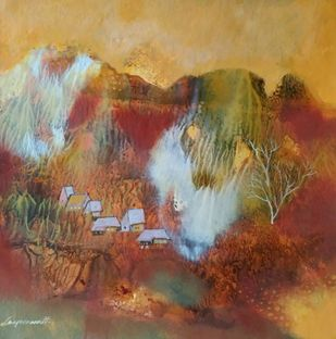 Landscape 11 by Jayavanth Shettigar, Abstract Painting, Mixed Media on Paper, Brown color