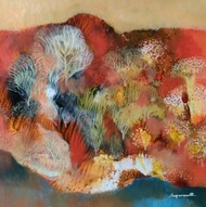 Landscape 12 by Jayavanth Shettigar, Abstract Painting, Mixed Media on Paper, Brown color