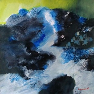 Landscape 13 by Jayavanth Shettigar, Abstract Painting, Mixed Media on Paper, Blue color