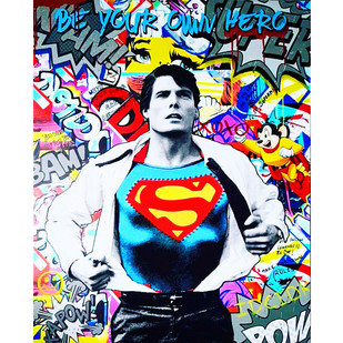 Be your own hero by Sanuj Birla, Pop Art Painting, Mixed Media on Canvas, Blue color