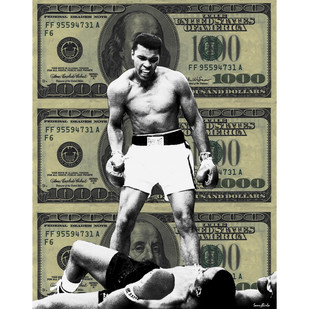 ALI MILLION DOLLAR KNOCKOUT by Sanuj Birla, Pop Art Digital Art, Mixed Media on Canvas, Gray color