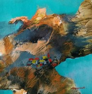 Landscape 15 by Jayavanth Shettigar, Abstract Painting, Mixed Media on Paper, Brown color