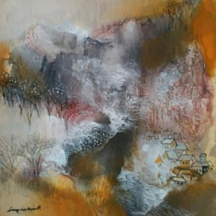 Landscape 16 by Jayavanth Shettigar, Expressionism Painting, Mixed Media on Paper, Brown color