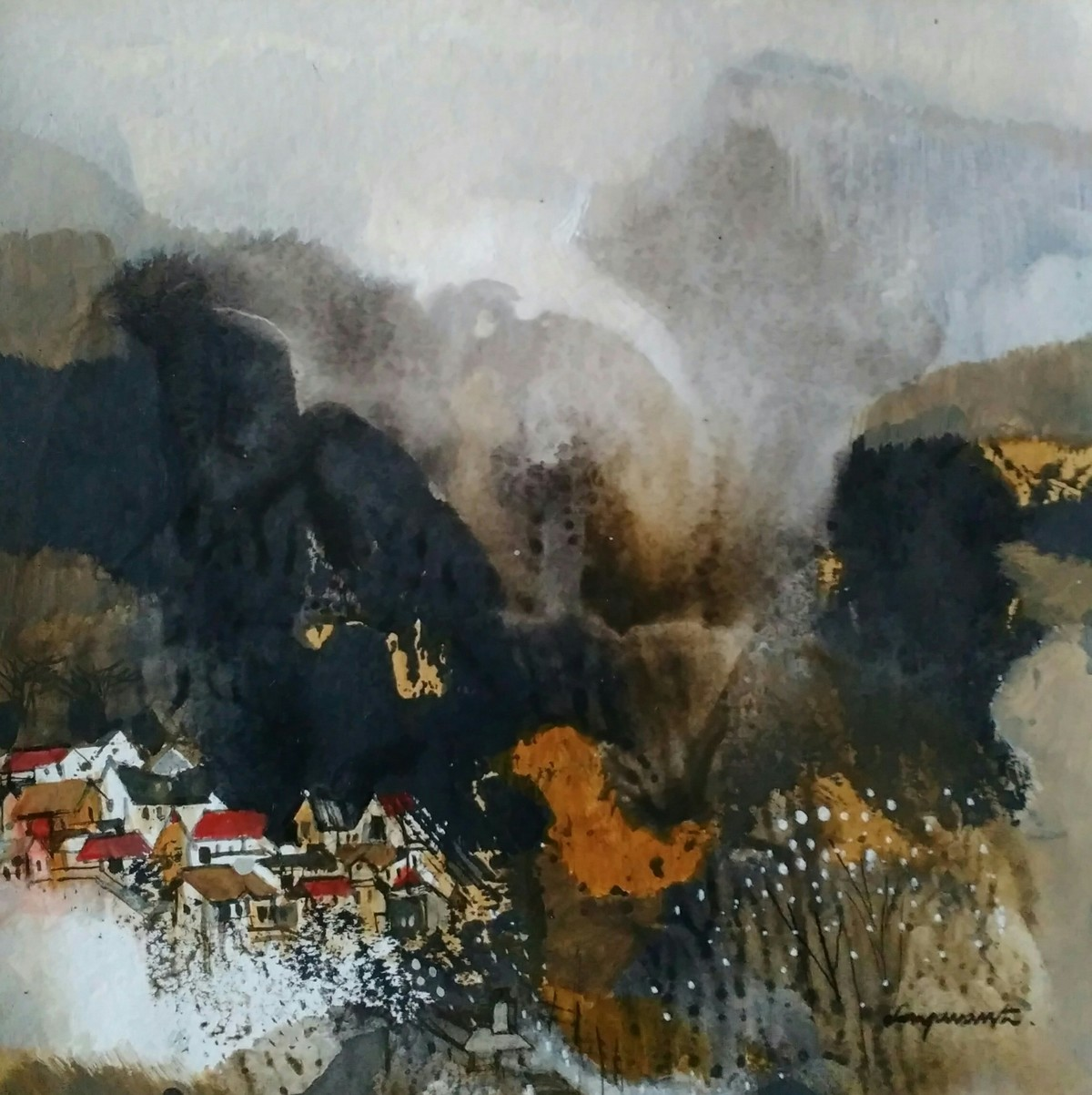 Landscape 19 by Jayavanth Shettigar, Abstract Painting, Mixed Media on Paper, Gray color