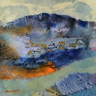 Landscape 20 by Jayavanth Shettigar, Abstract Painting, Mixed Media on Paper, Green color