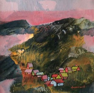 Landscape 17 by Jayavanth Shettigar, Impressionism Painting, Mixed Media on Paper, Brown color