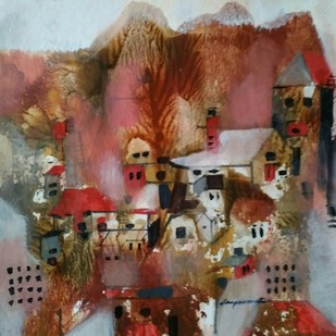 Landscape 18 by Jayavanth Shettigar, Abstract Painting, Mixed Media on Paper, Brown color