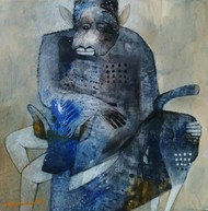 Affection by Jayavanth Shettigar, Conceptual Painting, Mixed Media on Paper, Green color