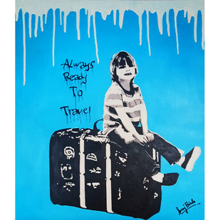ALWAYS READY TO TRAVEL by Sanuj Birla, Pop Art Painting, Acrylic on Canvas, Cyan color
