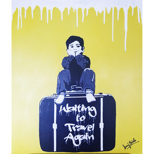 WAITING TO TRAVEL AGAIN by Sanuj Birla, Pop Art Painting, Acrylic on Canvas, Beige color