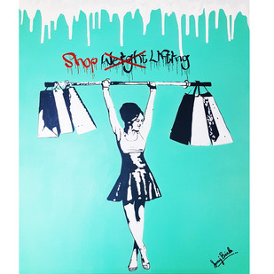 SHOP LIFTING by Sanuj Birla, Pop Art Painting, Acrylic on Canvas, Cyan color