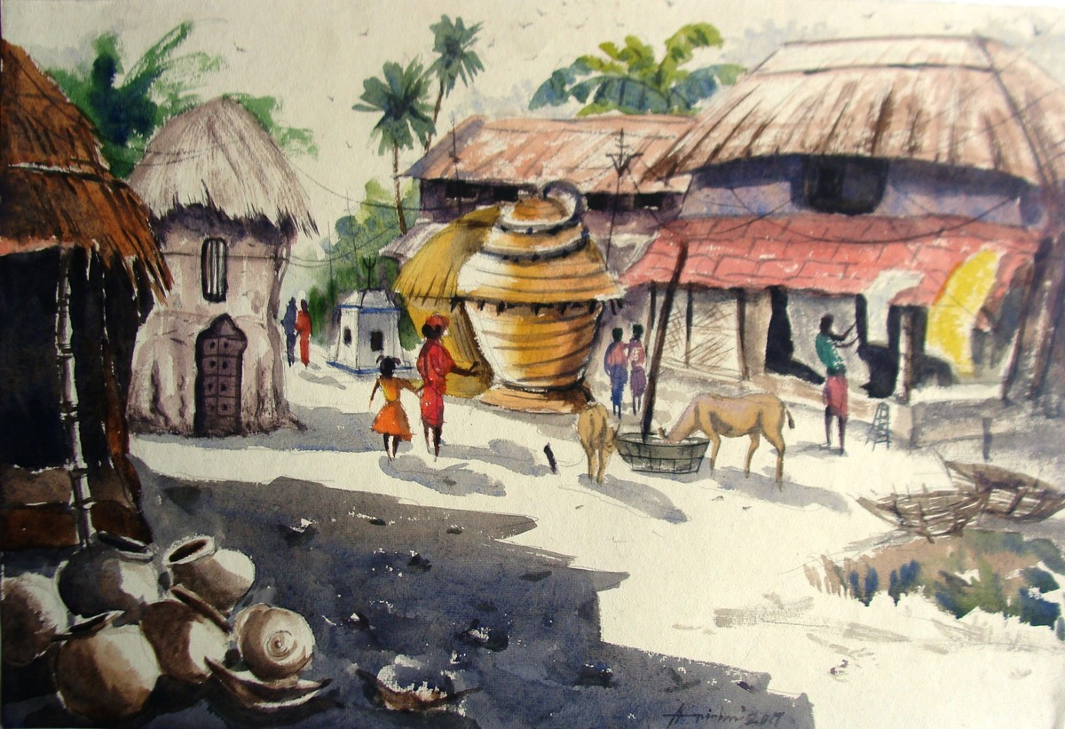 Daily life of an indian village by anirban seth impressionism painting watercolor on paper