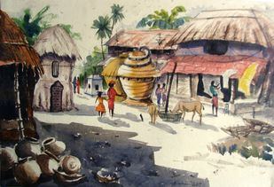 DAILY LIFE OF AN INDIAN VILLAGE by Anirban Seth, Impressionism Painting, Watercolor on Paper, Beige color