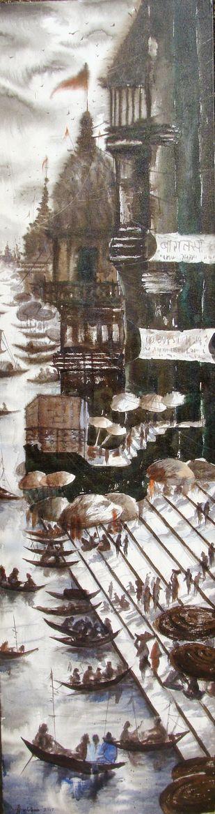 BANARAS - iii by Anirban Seth, Impressionism Painting, Acrylic on Canvas, Brown color