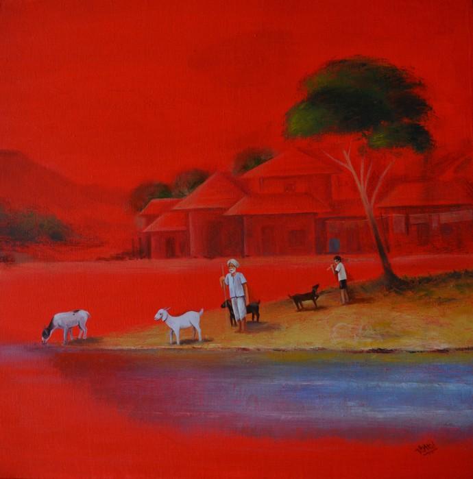 Landscape-23 Digital Print by Atul Virkar,Impressionism