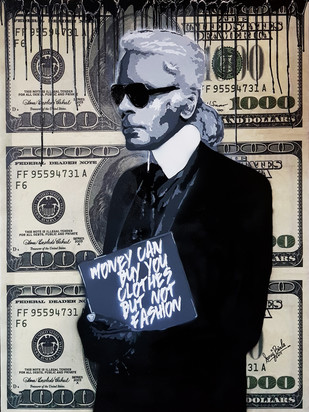 MONEY CANT BUY FASHION by Sanuj Birla, Pop Art Painting, Acrylic on Canvas, Gray color