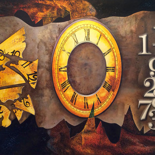 Number Game by Aarrti Zaveri, Surrealism Painting, Oil on Canvas, Brown color