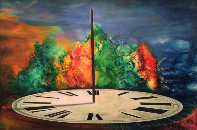 Shadow Of Time by Aarrti Zaveri, Surrealism Painting, Oil on Canvas, Brown color