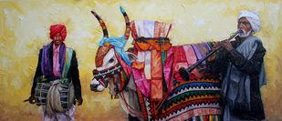 Gangireddu 04 by Iruvan Karunakaran, Impressionism Painting, Acrylic on Canvas, Brown color