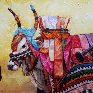 Gangireddu 04 by Iruvan Karunakaran, Impressionism Painting, Acrylic on Canvas, Brown color