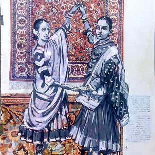 Nautch girls by Sreenivasa Ram Makineedi, Illustration Painting, Acrylic & Ink on Paper, Brown color