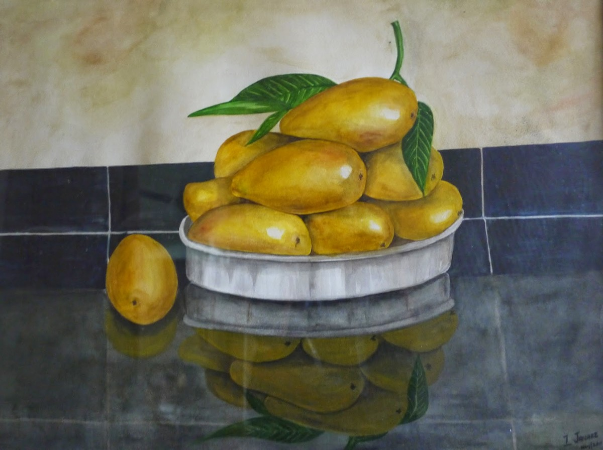 Mangoes by Janaki Injety, Realism Painting, Watercolor on Paper, Green color