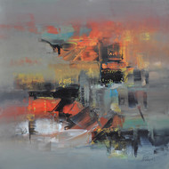 Defining Space I by Raju Durshettiwar, Abstract Painting, Acrylic on Canvas, Brown color