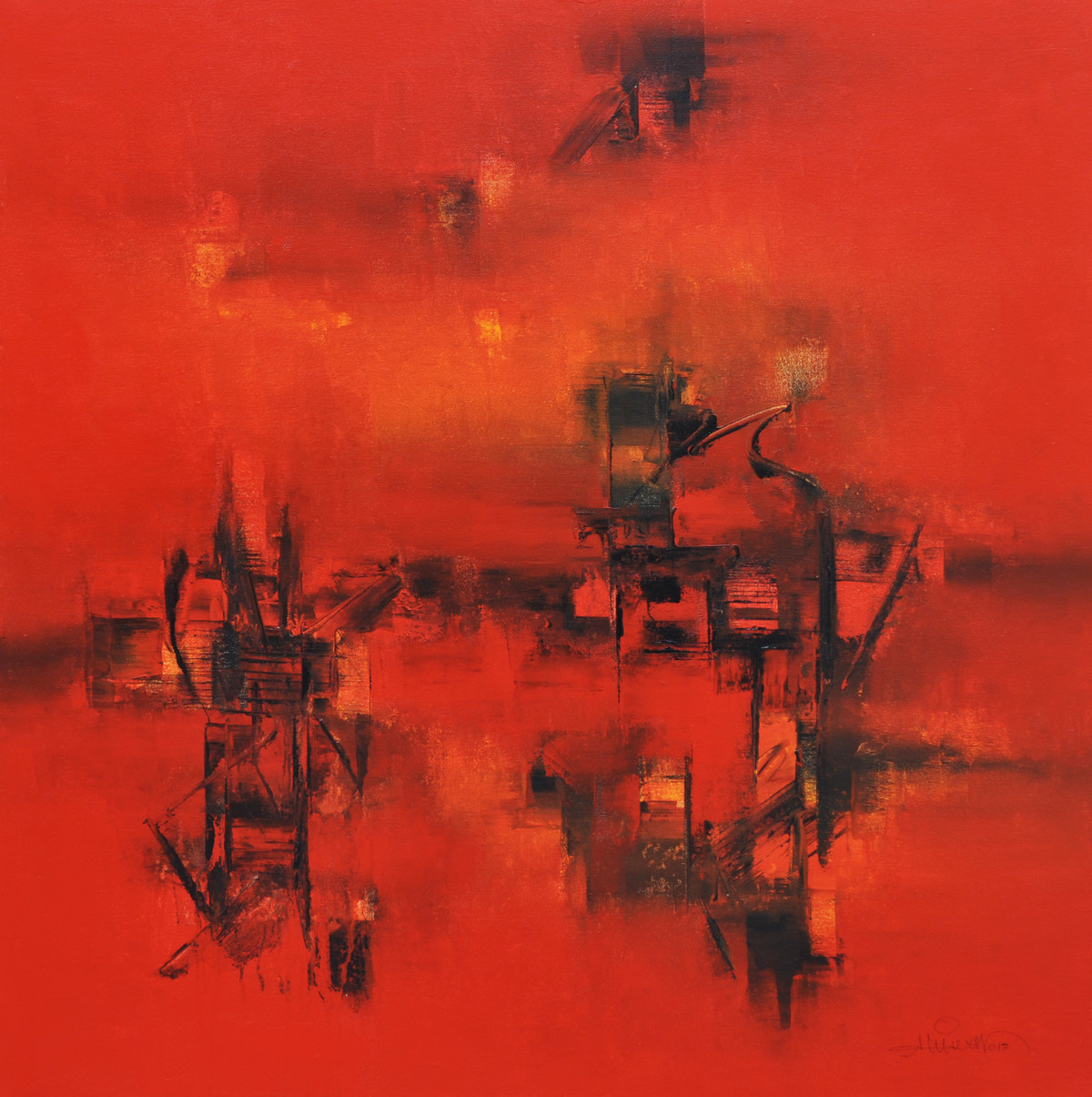 Defining Space II by Raju Durshettiwar, Abstract Painting, Acrylic on Canvas, Red color