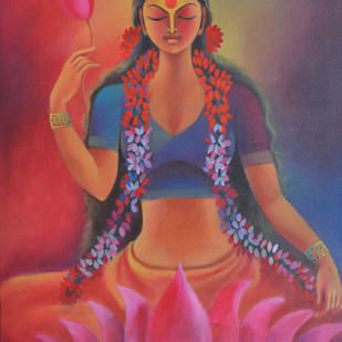 Mahalakshmi by Manisha Raju, Traditional Painting, Acrylic on Canvas, Brown color