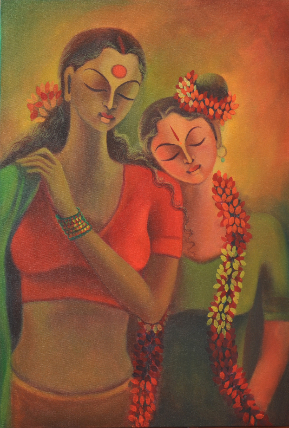 Aandal by Manisha Raju, Traditional Painting, Acrylic on Canvas, Brown color