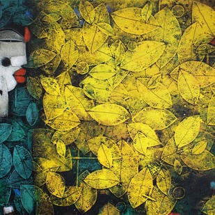 Untitled by Basukinath Dasgupta, Impressionism Painting, Acrylic on Canvas, Green color