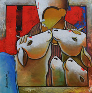 Companions by anupam pal, Decorative Painting, Acrylic on Canvas, Brown color