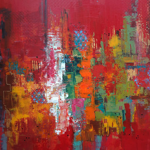 Celebrations 2 by Sheetal Singh, Abstract Painting, Acrylic on Canvas, Brown color