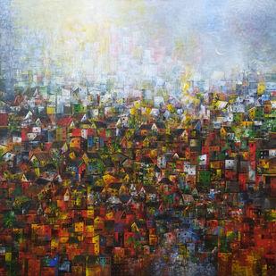 Village of my dream by M Singh, Geometrical Painting, Acrylic on Canvas, Brown color