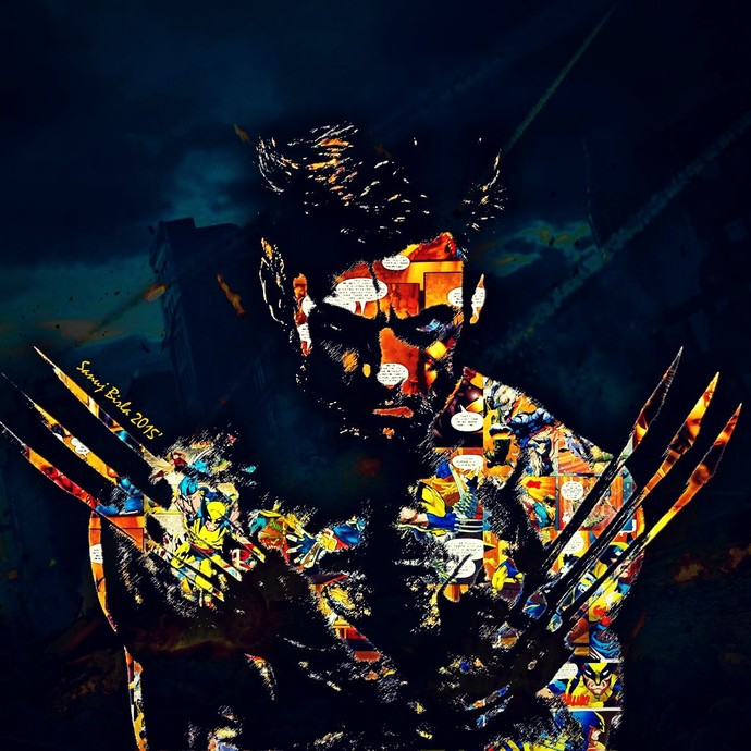 WOLVERINE by Sanuj Birla, Pop Art Digital Art, Digital Print on Canvas, Blue color