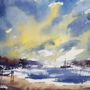 beach by Sunil Linus De, Impressionism Painting, Watercolor on Paper, Blue color