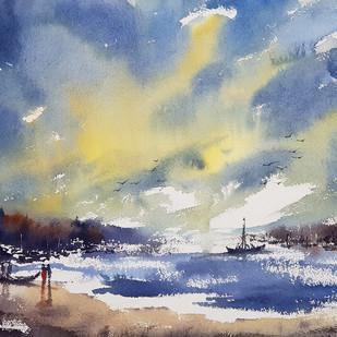 beach by Sunil Linus De, Impressionism Painting, Watercolor on Paper, Blue color