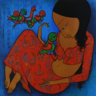 LOVE STORY OF A BIRD by Hitendra Singh Bhati, Expressionism Painting, Acrylic on Canvas, Brown color